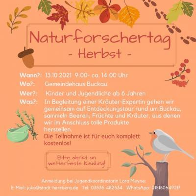 Naturforschertag für unsere Jugend am 13.10.2021