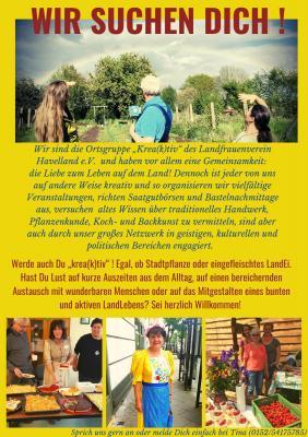 """WIR - die Ortsgruppe """"Krea(k)tiv"""" des Landfrauenvereins Havelland e.V. - SUCHEN DICH"""