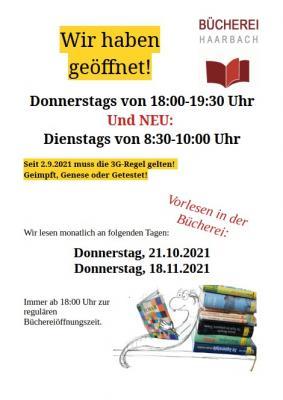 Bücherei Haarbach - neue Öffnungszeiten