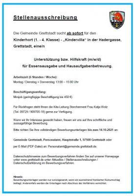 Unterstützung bzw. Hilfskraft (m/w/d) ab sofort für die Kindervilla Grettstadt - 450 € geringfügige Beschäftigung