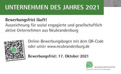 Neubrandenburg sucht das Unternehmen des Jahres 2021 - Die Bewerbungsfrist läuft!