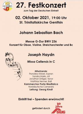 27. Festkonzert zum Tag der Deutschen Einheit mit dem Kammerchor Porta Westfalica am 2. Oktober 2021 um 19 Uhr in der St. Trinitatis Kirche Genthin