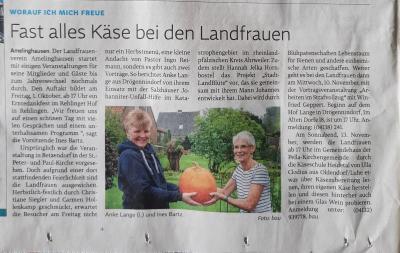 Alles Käse / Zeitungsartikel über den LandFrauenverein Amelinghausen