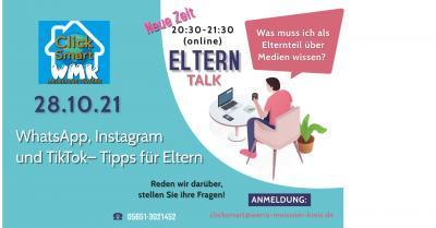Pressemitteilung des Werra-Meißner-Kreises vom 11.10.2021:  Online-Elter-Talk zu WhatsApp, Instagram und TikTok - Tipps für Eltern