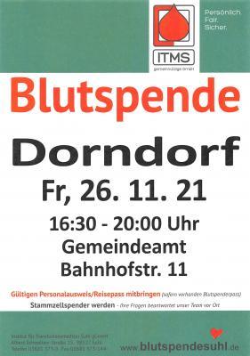 Blutspende Dorndorf 26.11.2021