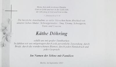 Danke für die Anteilnahme zum Abschied von Käthe Döhring