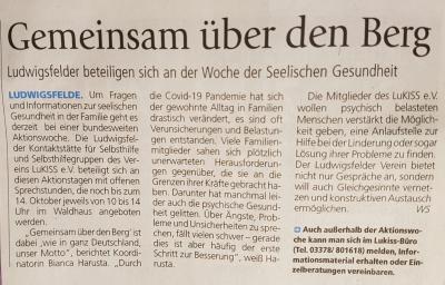 Artikel im WOCHENSPIEGEL vom 13.10.2021