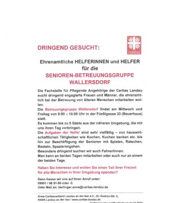 Bild der Meldung: Ehrenamtliche Helferinnen und Helfer für die Senioren-Betreuungsgruppe Wallersdorf gesucht
