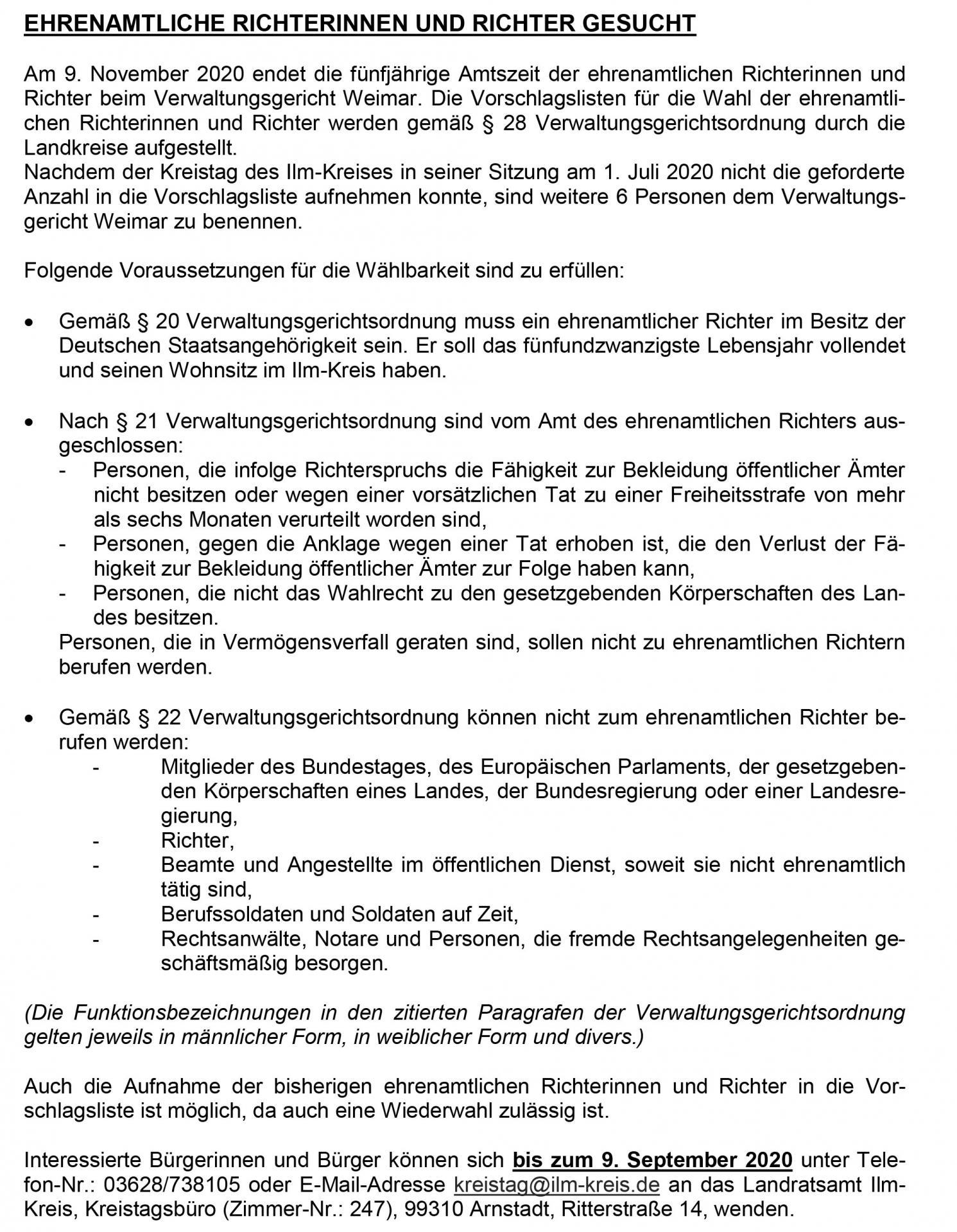 Ehrenamtliche Richter für das Verwaltungsgericht Weimar