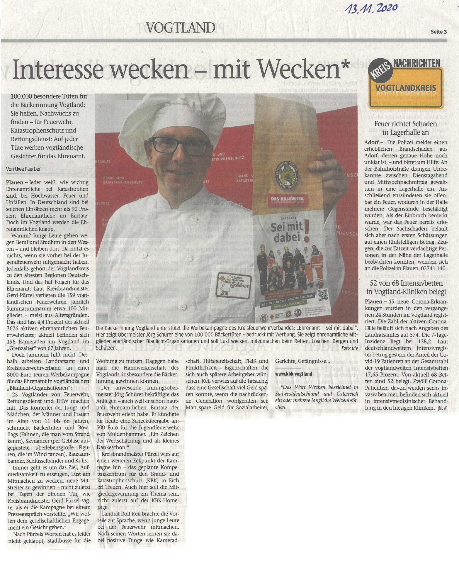 Bild des Beitrages aus dem Vogtlandanzeiger vom 13.11.2020
