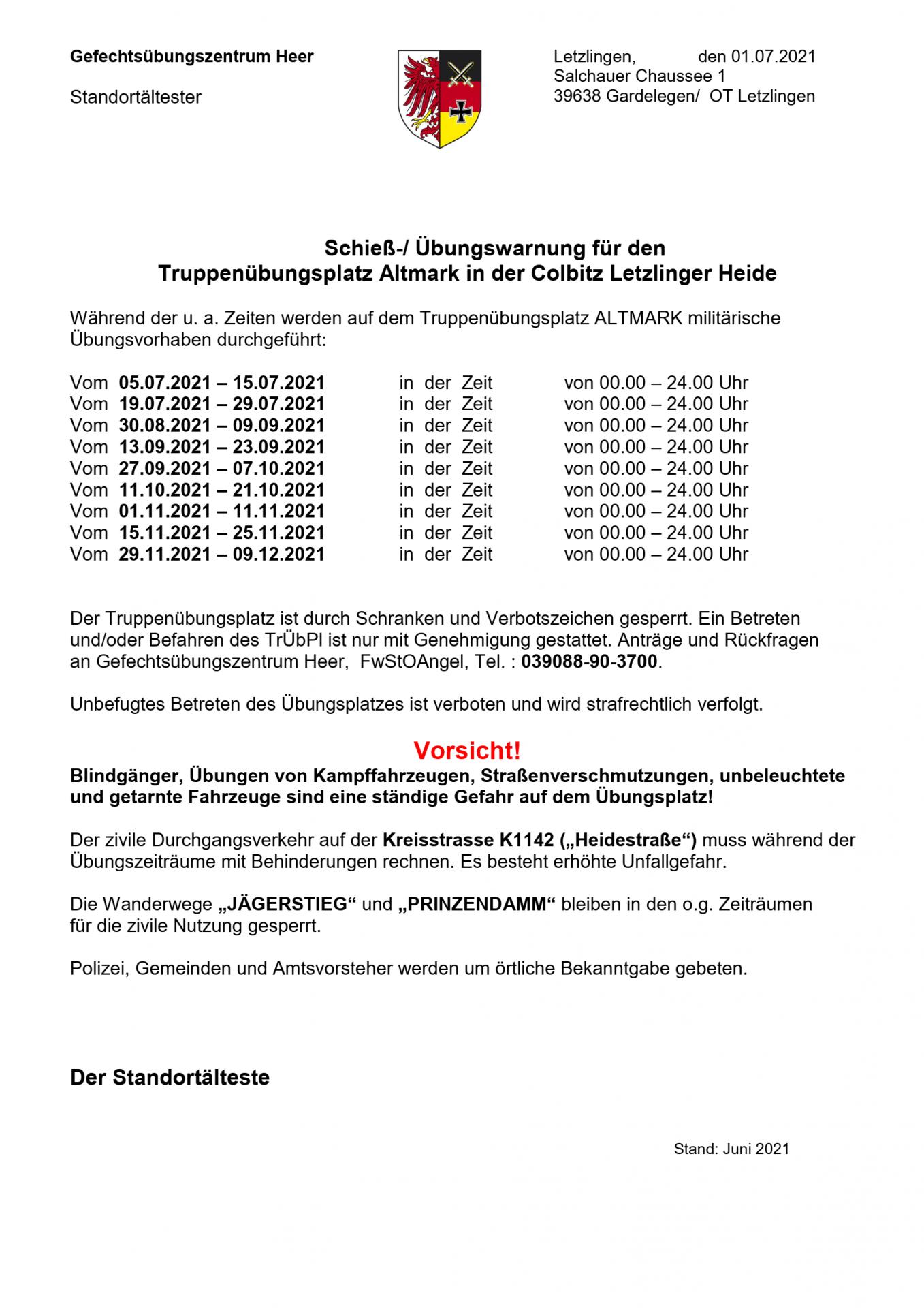 Schieß-/ Übungswarnung für den Truppenübungsplatz Altmark in der Colbitz Letzlinger Heide