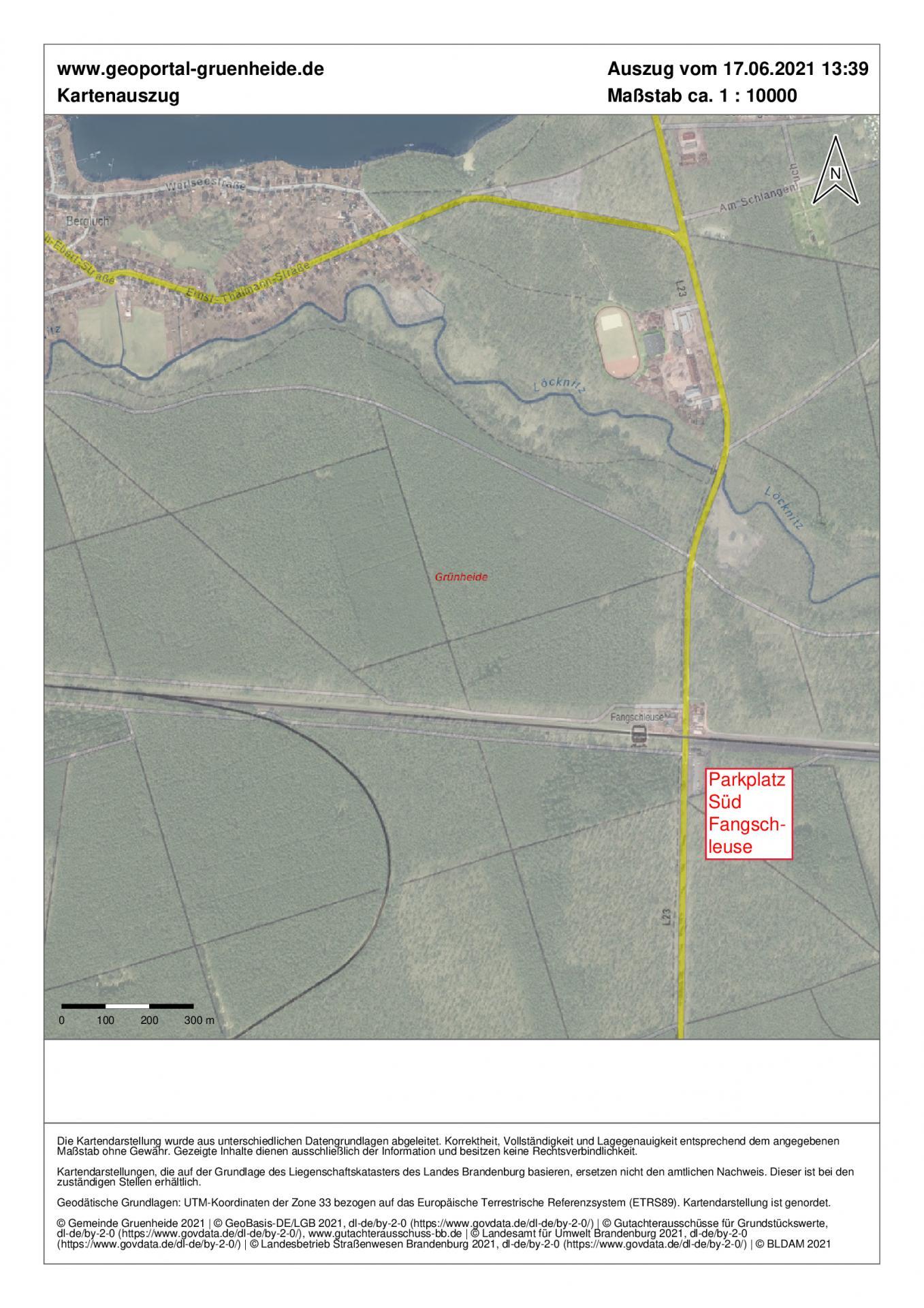 Kartenausschnitt_südlicher Parkplatz_L23