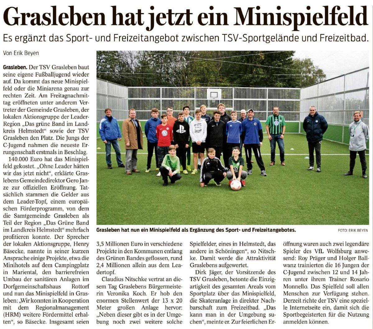 Berichterstattung aus den Helmstedter Nachrichten vom 17.10.2020 (Autor: Erik Beyen):