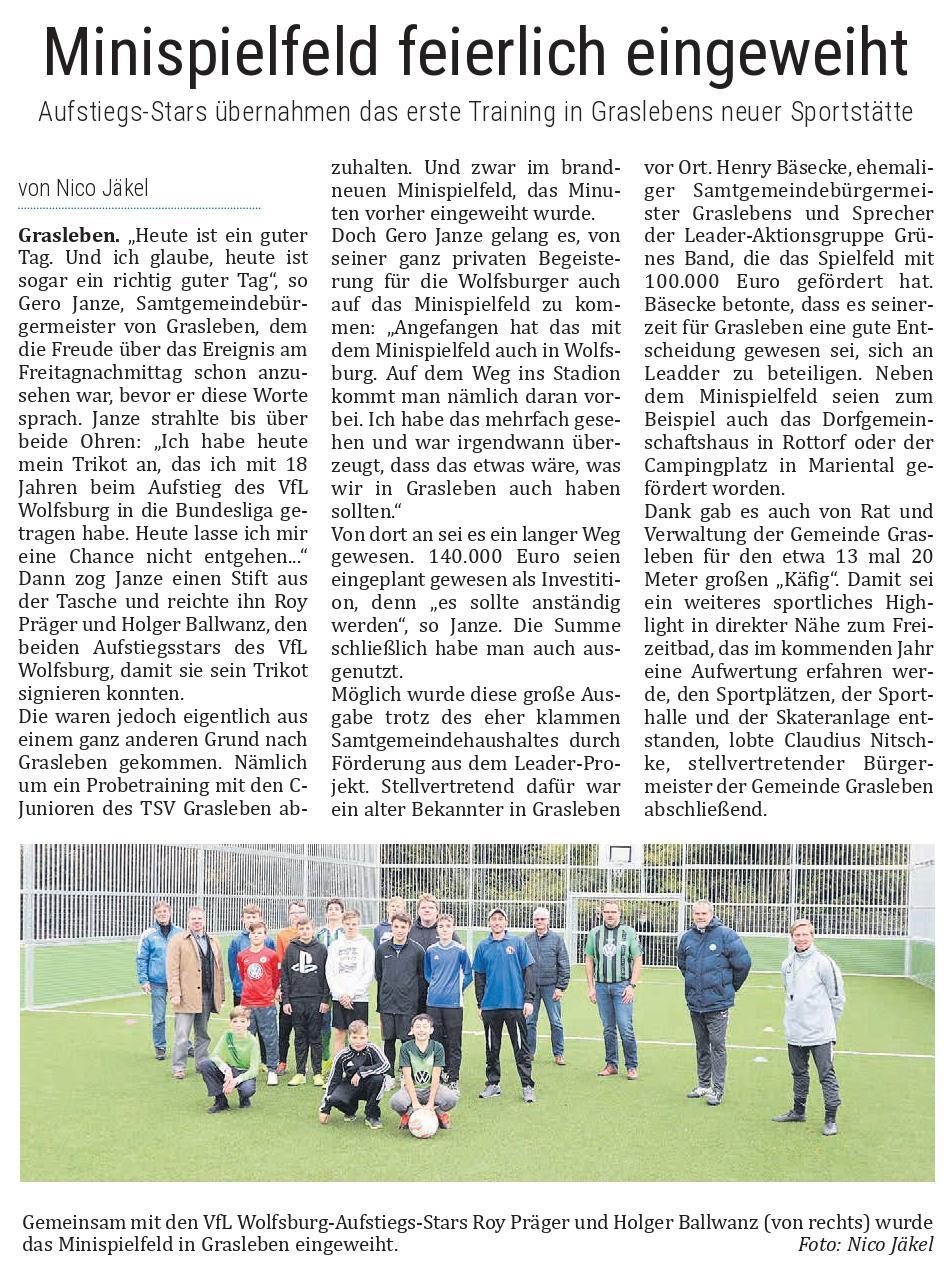 Berichterstattung aus dem Helmstedter Sonntag vom 18.10.2020 (Autor: Nico Jäkel)