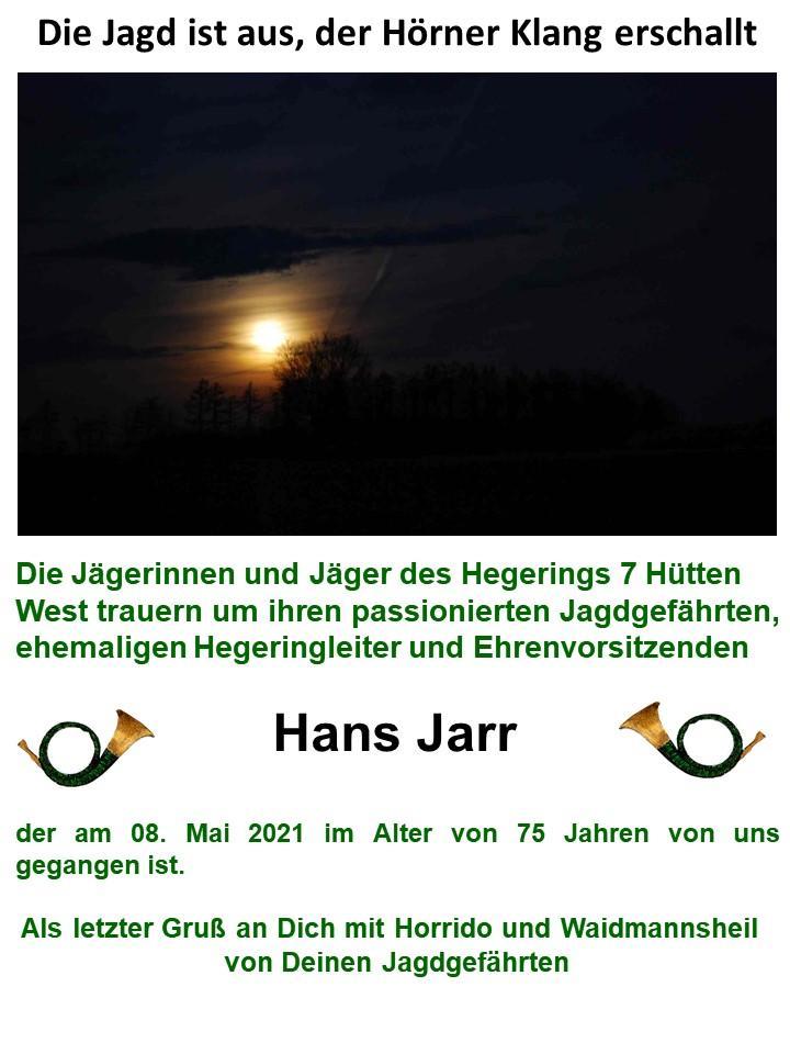 Nachruf Hans Jarr