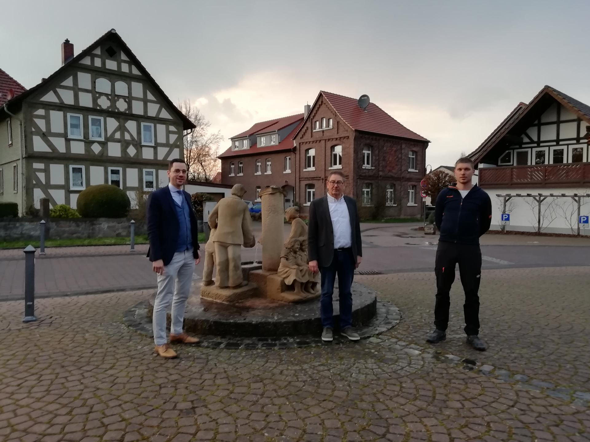 Ortsbeirat Bimbach, v.l. Florian Fritzsch, Karl Süss, Johannes Möller