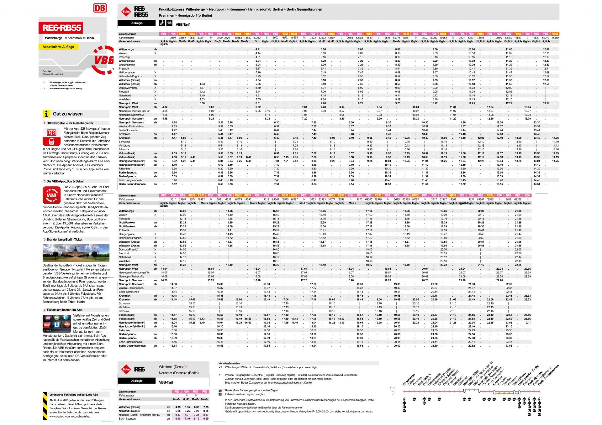 Fahrplan RE6 und RB 55 ab 19.06.2020