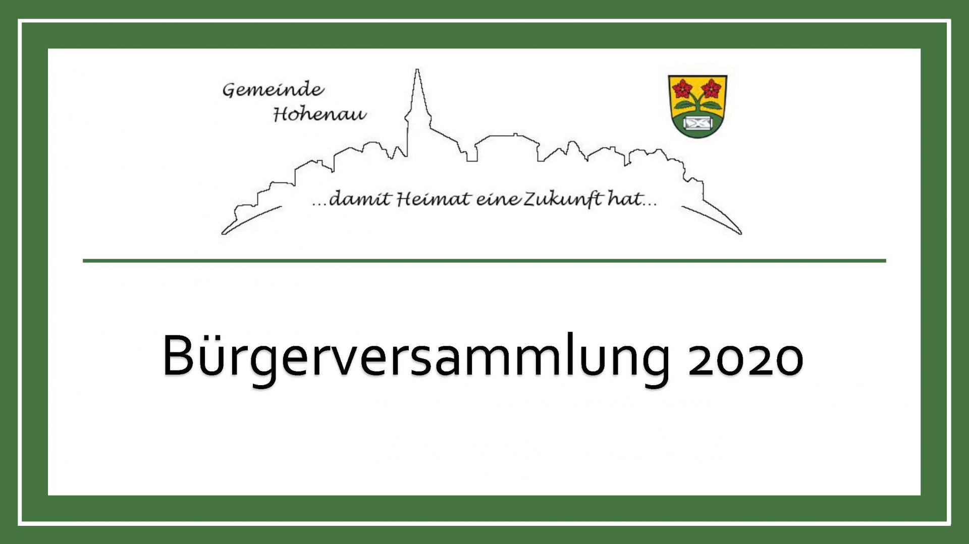 Bürgerversammlung 2020