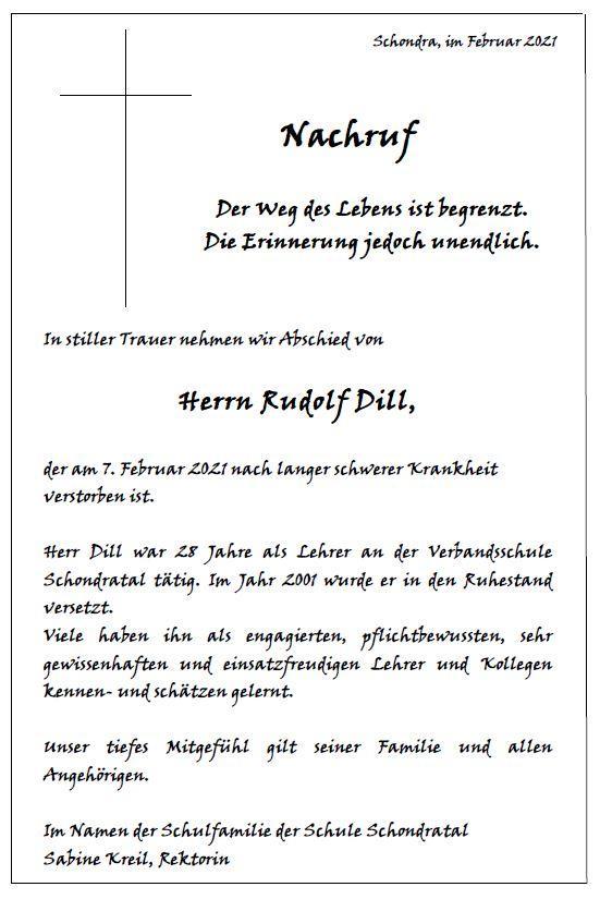Nachruf Rudolf Dill