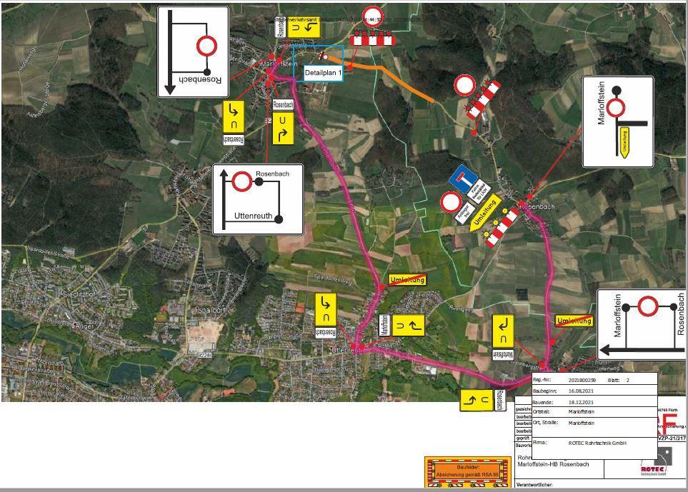 Umleitung zur Vollsperrung Marloffstein-Rosenbach