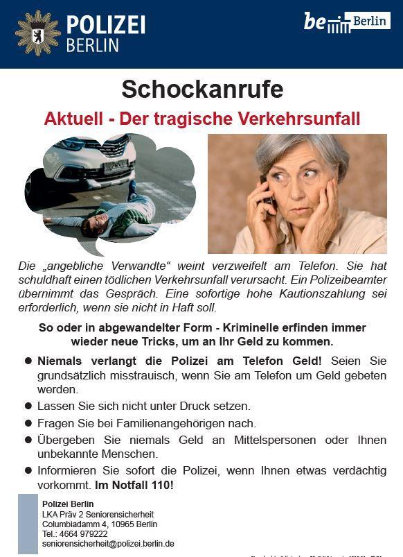 Plakat Schockanrufe
