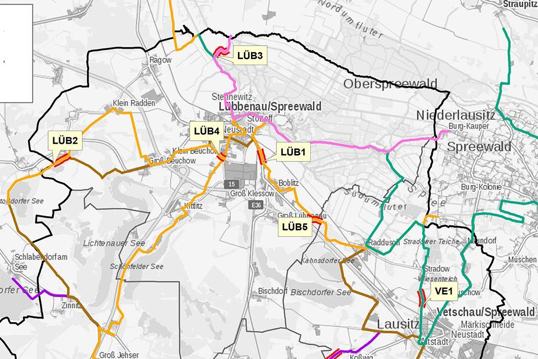 Ausschnitt der Gesamtkarte Radwege-Modernisierung durch den Landkreis OSL
