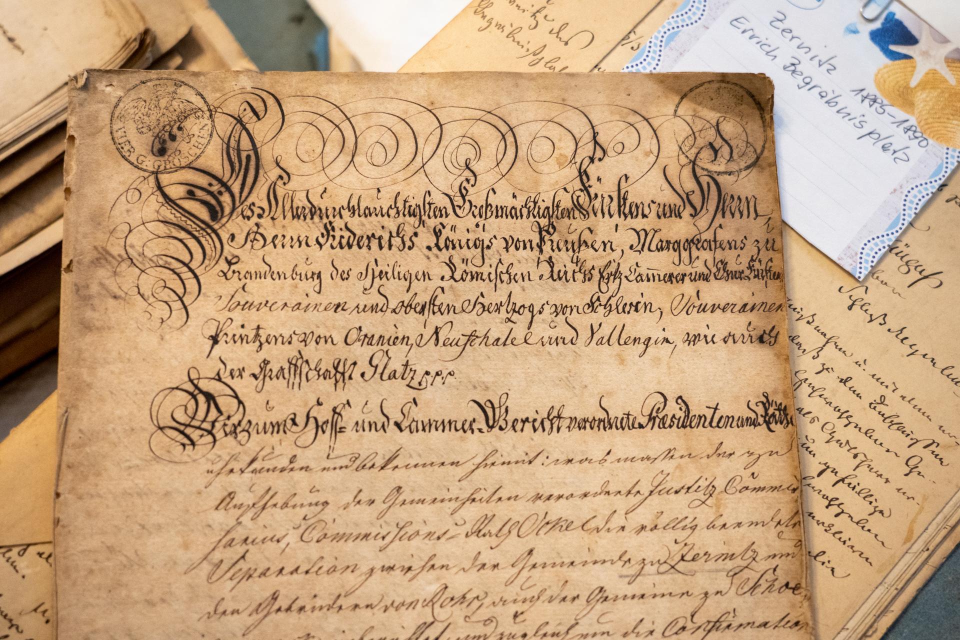 Dokument aus dem 18. Jahrhundert