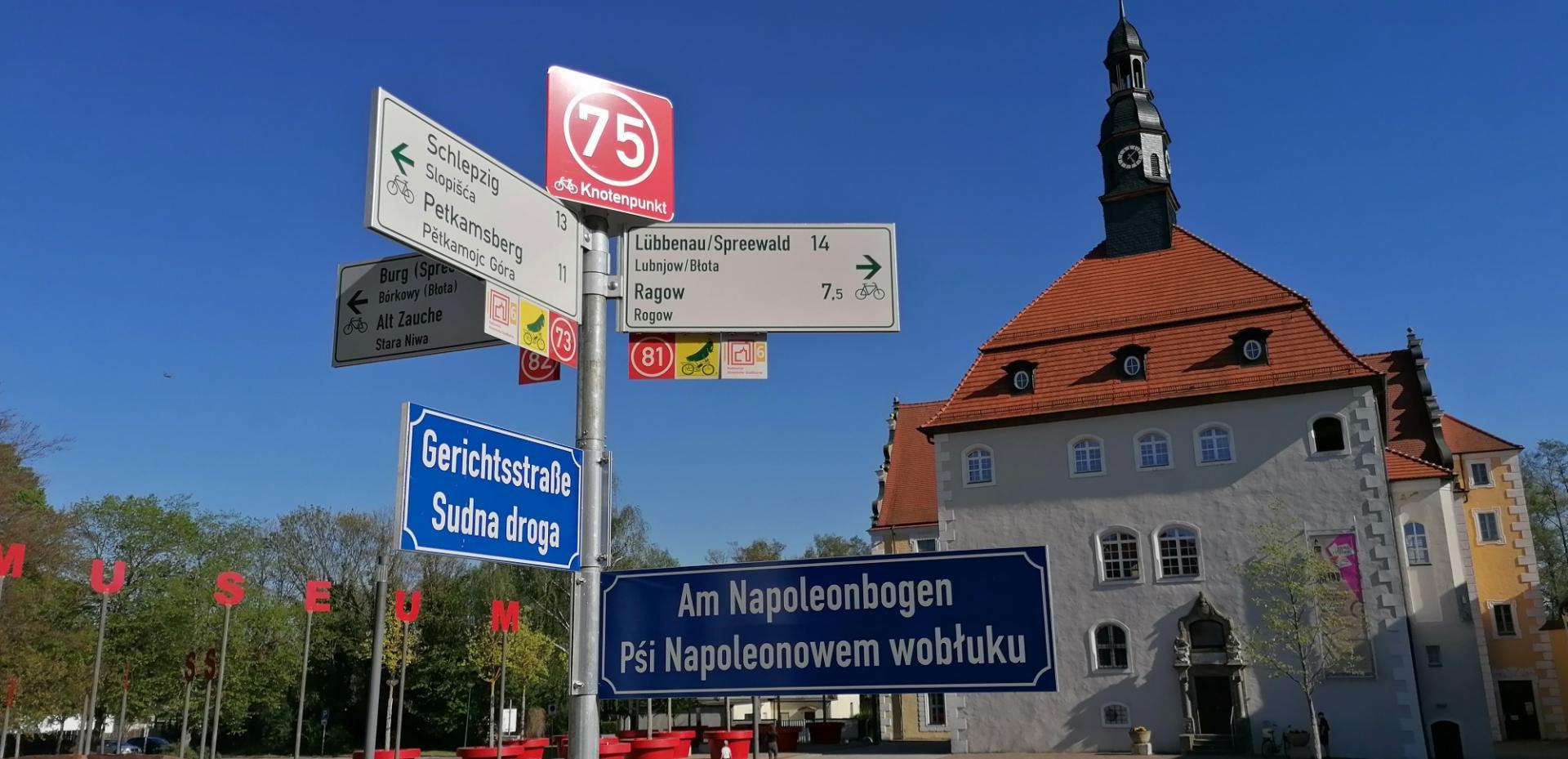 Lübben liegt im sorbischen/wendischen Siedlungsgebiet und wird nach und nach zweisprachig ausgeschildert. Foto: Dörthe Ziemer