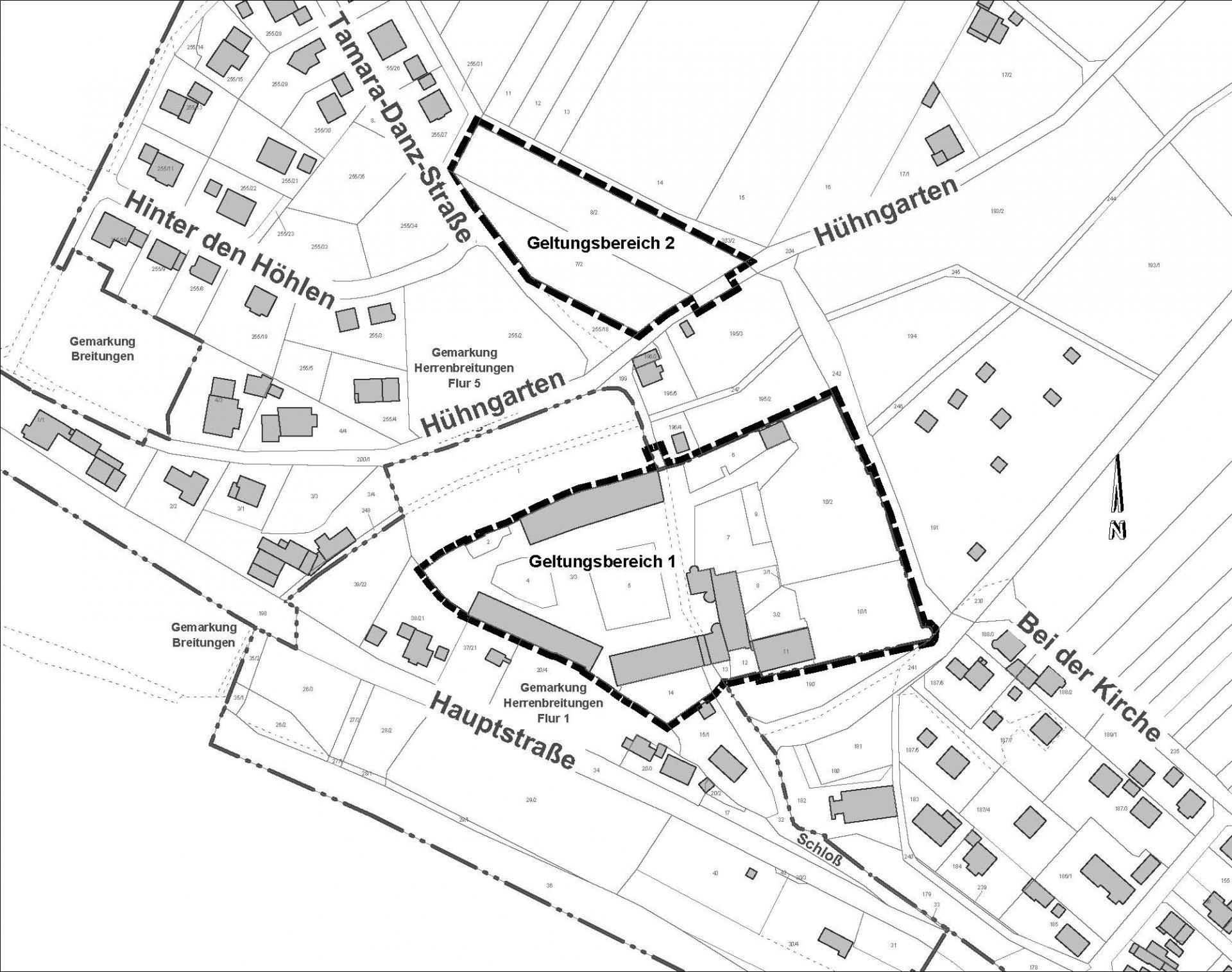 Lageplan zu den Geltungsbereichen 1 und 2
