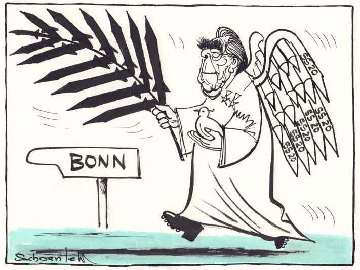 Karikatur von Karl-Heinz Schoenfeld - 1977 - Der Friedensengel kommt ...
