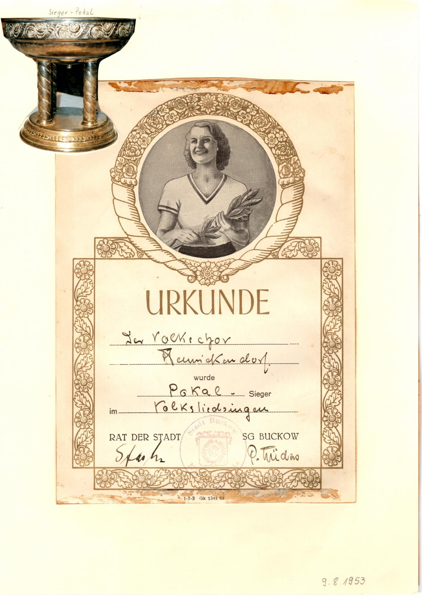 Sängerwettstreit 1953 Buckow  Archiv Volkschor