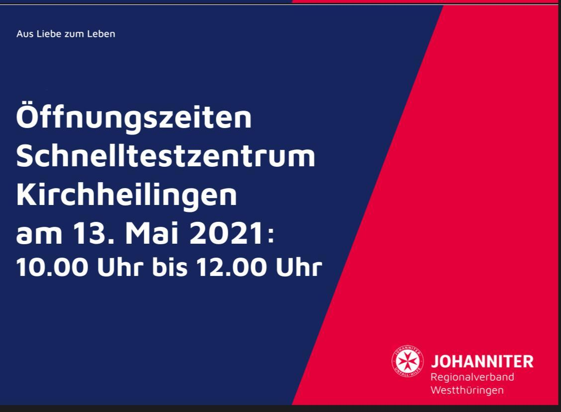 Bürgertestung 13. Mai 2021 Johanniter-Änderung