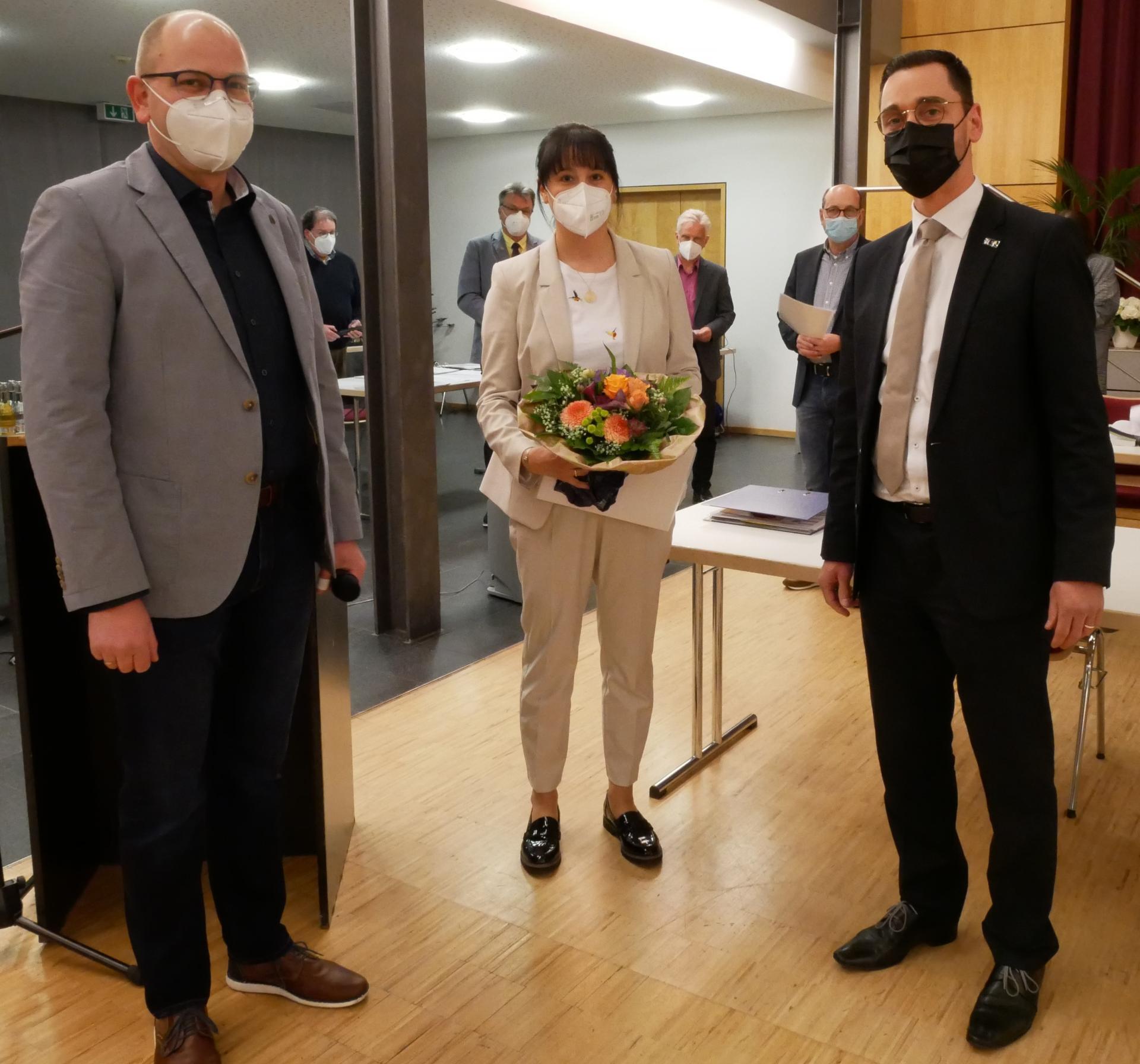 Marco Herbert - Vorsitzender der Gemeindevertretung, Kathrina Hosenfeld - Erste Beigeordnete, Florian Fritzsch - Bürgermeister