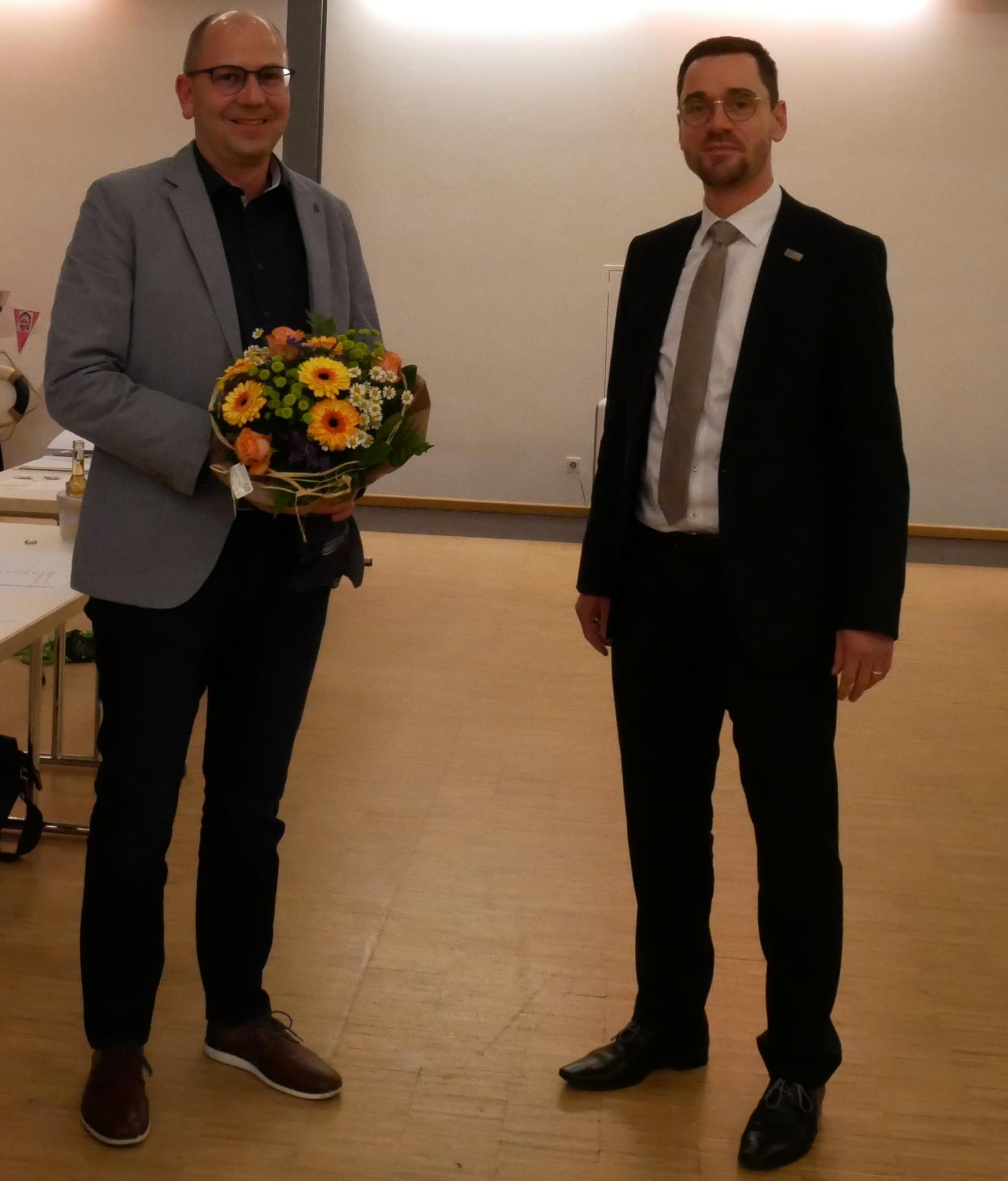 Der Vorsitzende der Gemeindevertretung Marco Herbert und Bürgermeister Florian Fritzsch