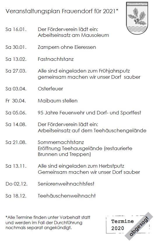 Veranstaltungen Frauendorf 2021