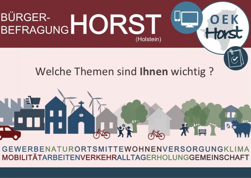 Postkarte zur Bürgerbefragung Horst (Holstein)