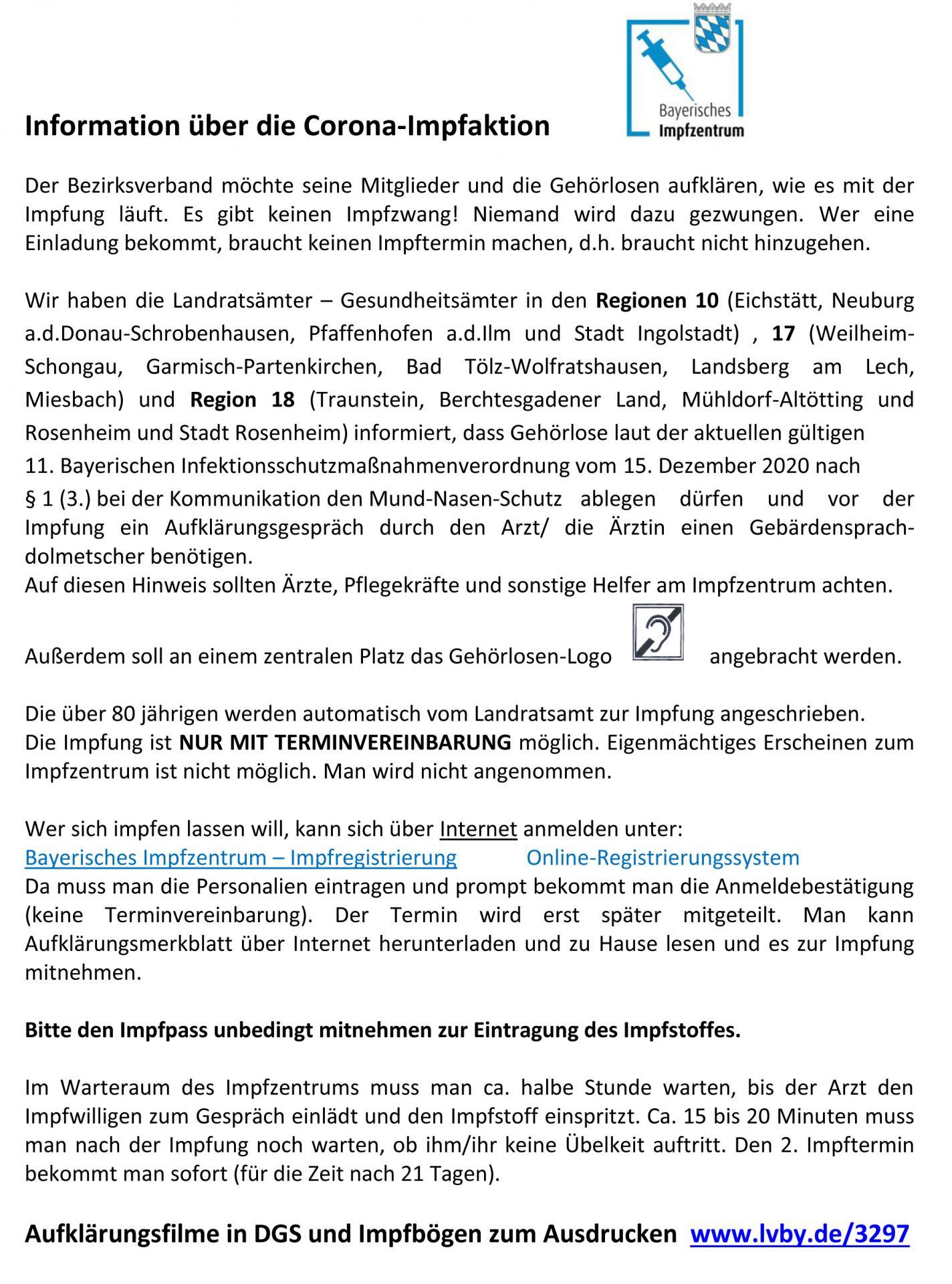 Information über Impfaktion