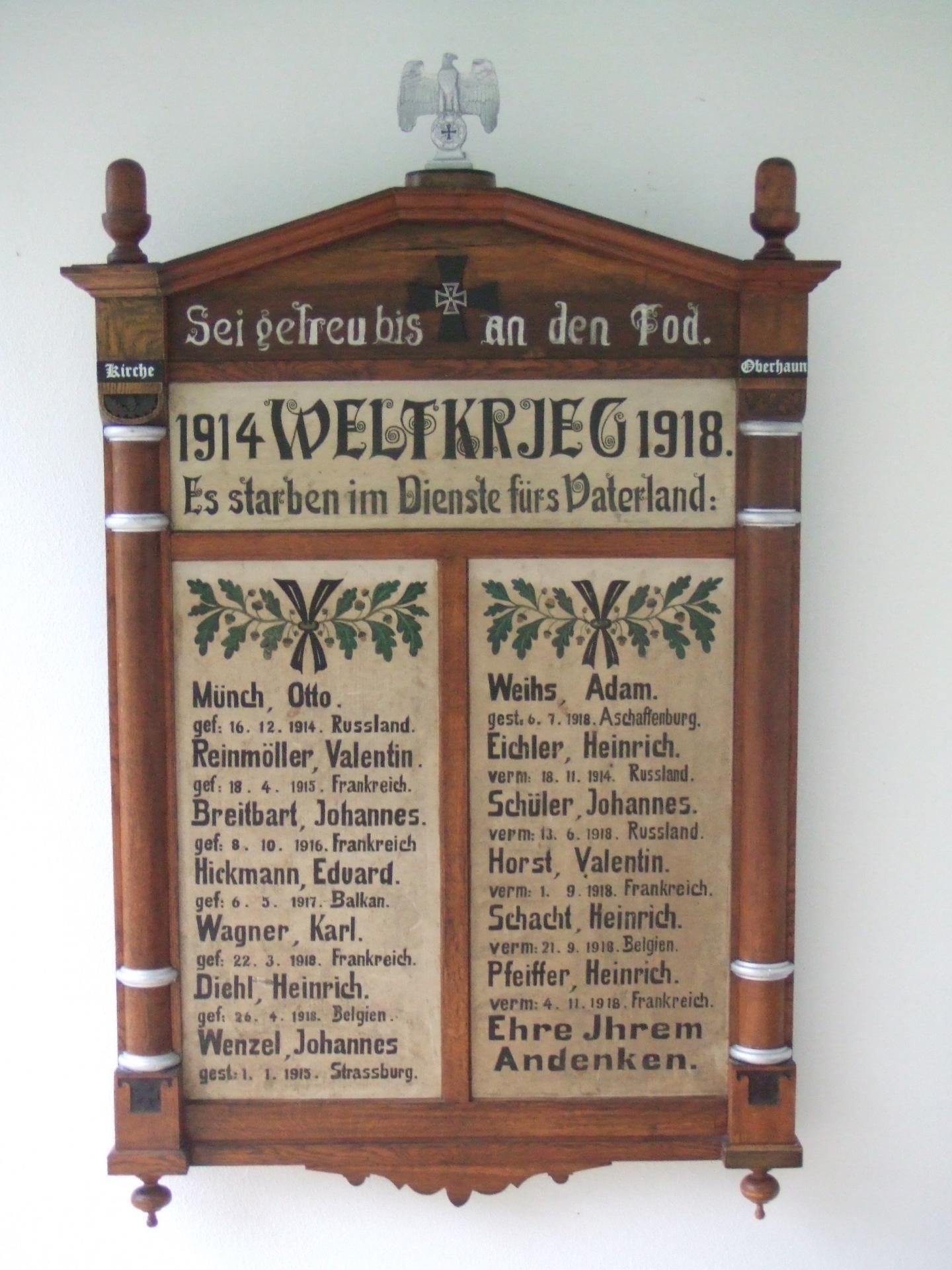 Restaurierte Ehrentafel