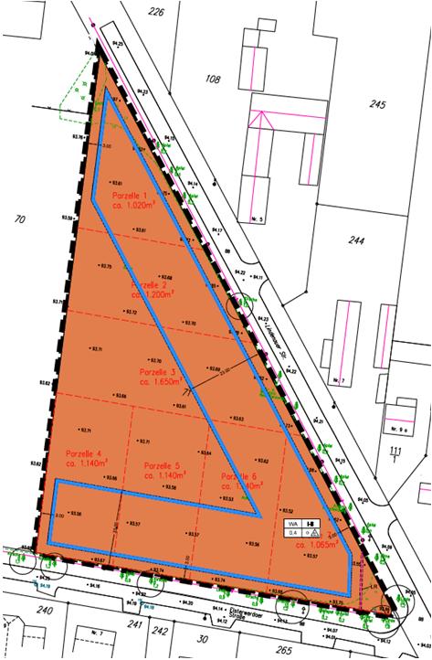 Einteilung Baugrundstücke (mit blauer Baugrenze)