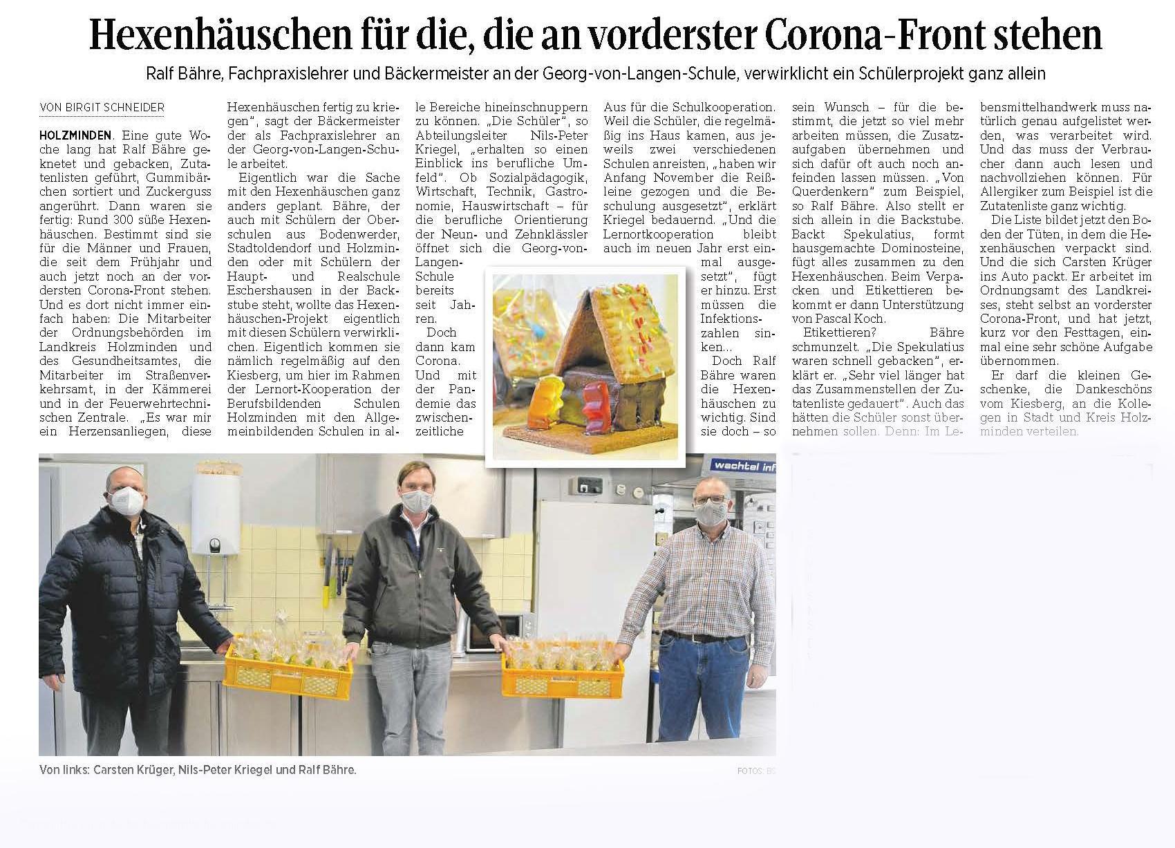 Hexenhäuschen für die, die an vorderster Corona-Front stehen