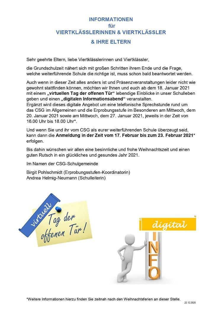 22.12.2020 digitaler Info-Abend und virtueller Tag der offenen Tür