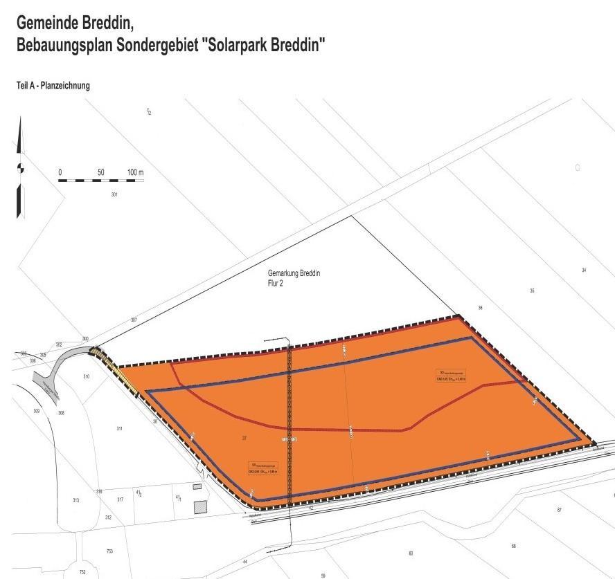 Planzeichnung B-Plan Solarpark Breddin