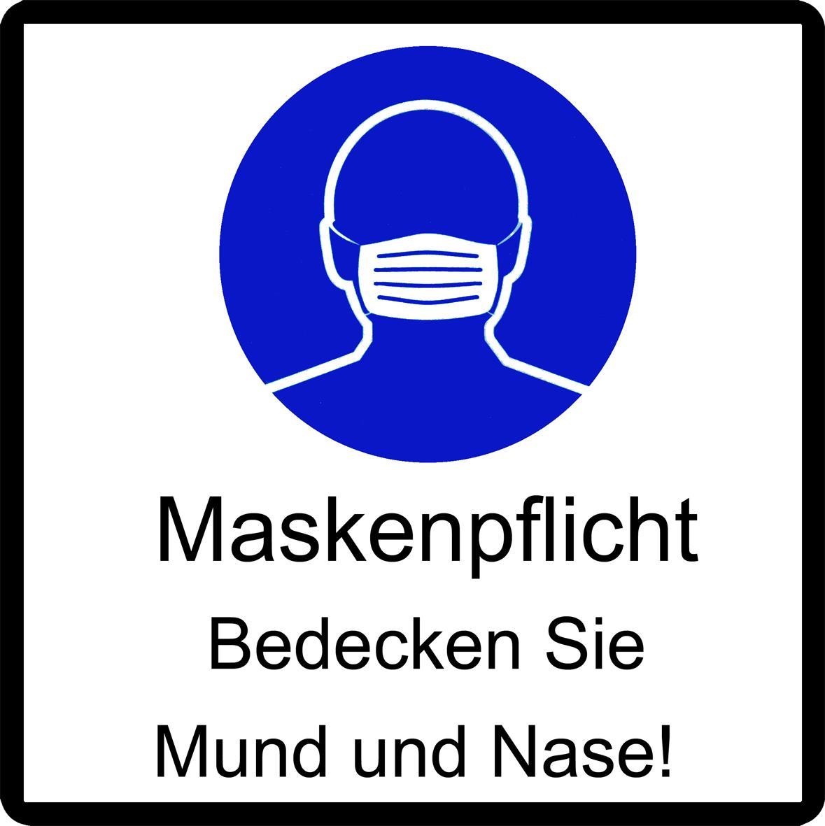 Schild Maskenpflicht