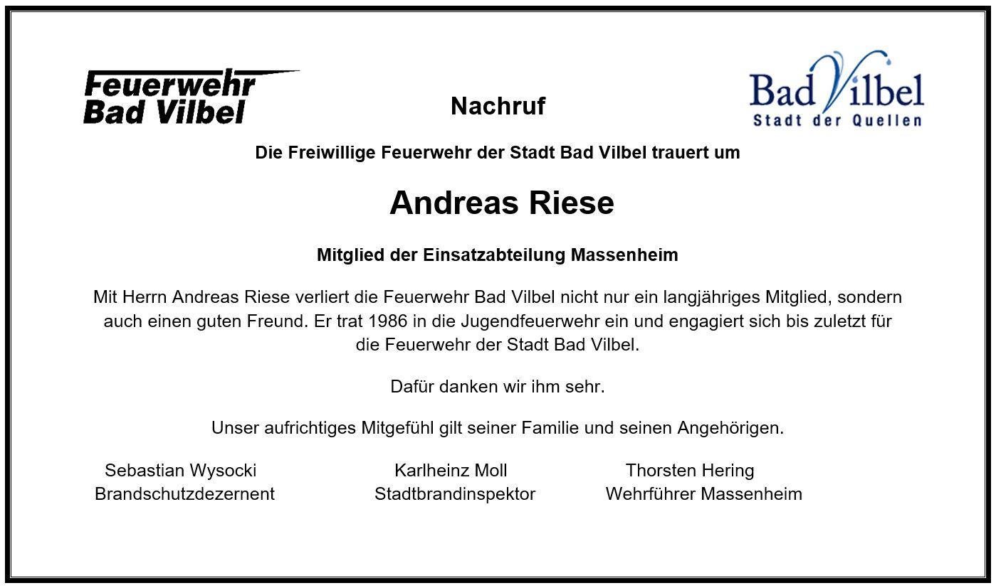 Nachruf Andreas Riese