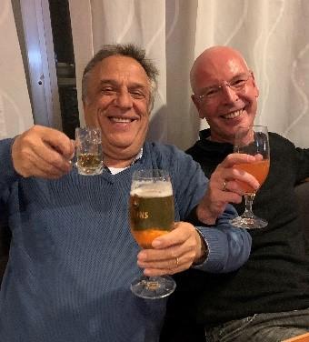 Hatten Grund zum Feiern: Wolfgang und Torsten