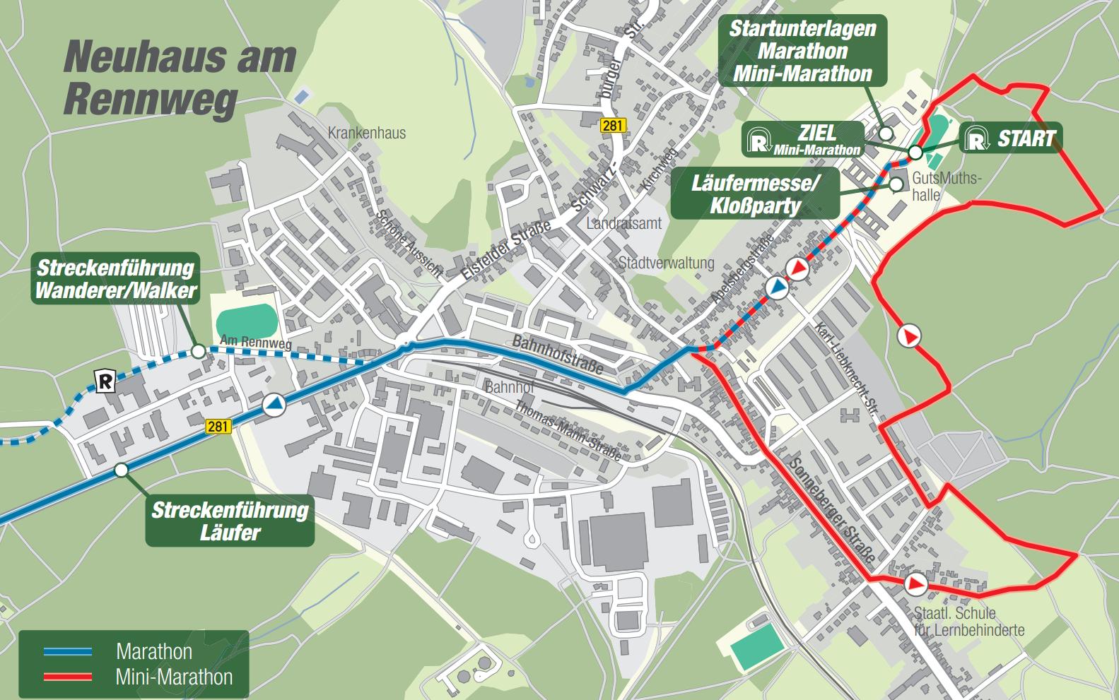 Streckenführung Rennsteiglauf 2021