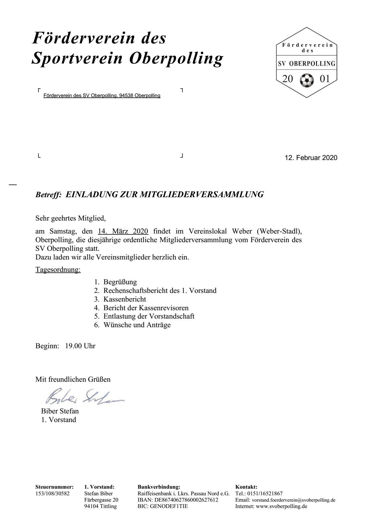 Mitgliederversammlung Förderverein