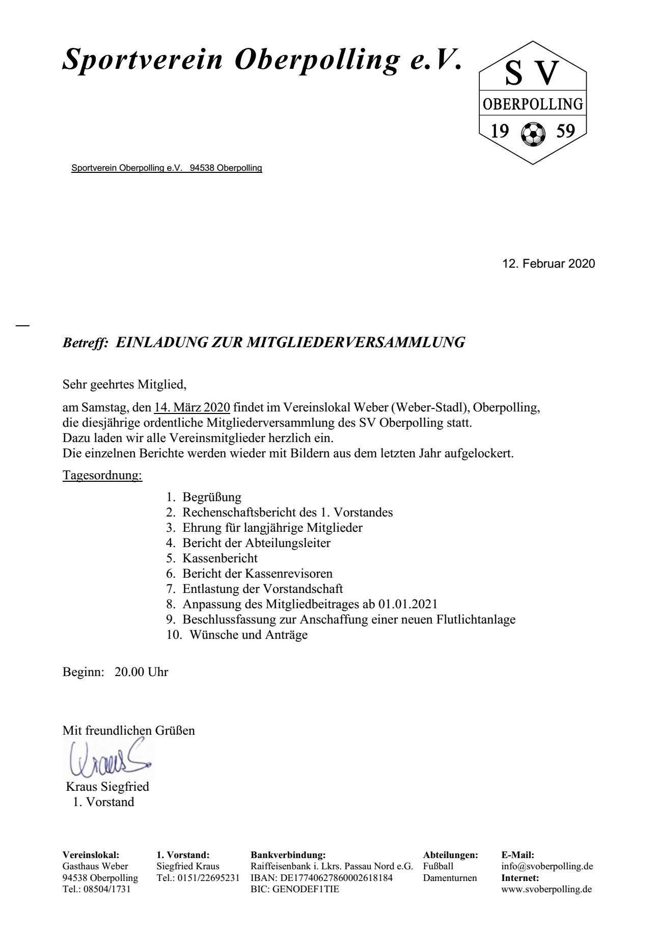 Mitgliederversammlung SV Oberpolling