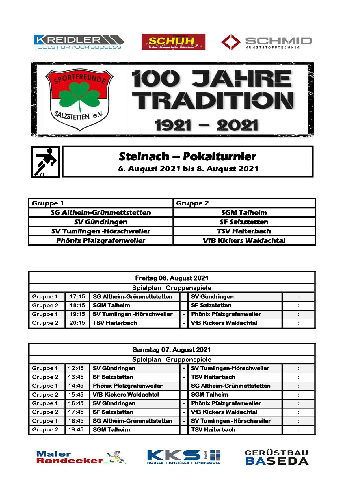Steinachpokal Turnierplan - Freitag, Samstag