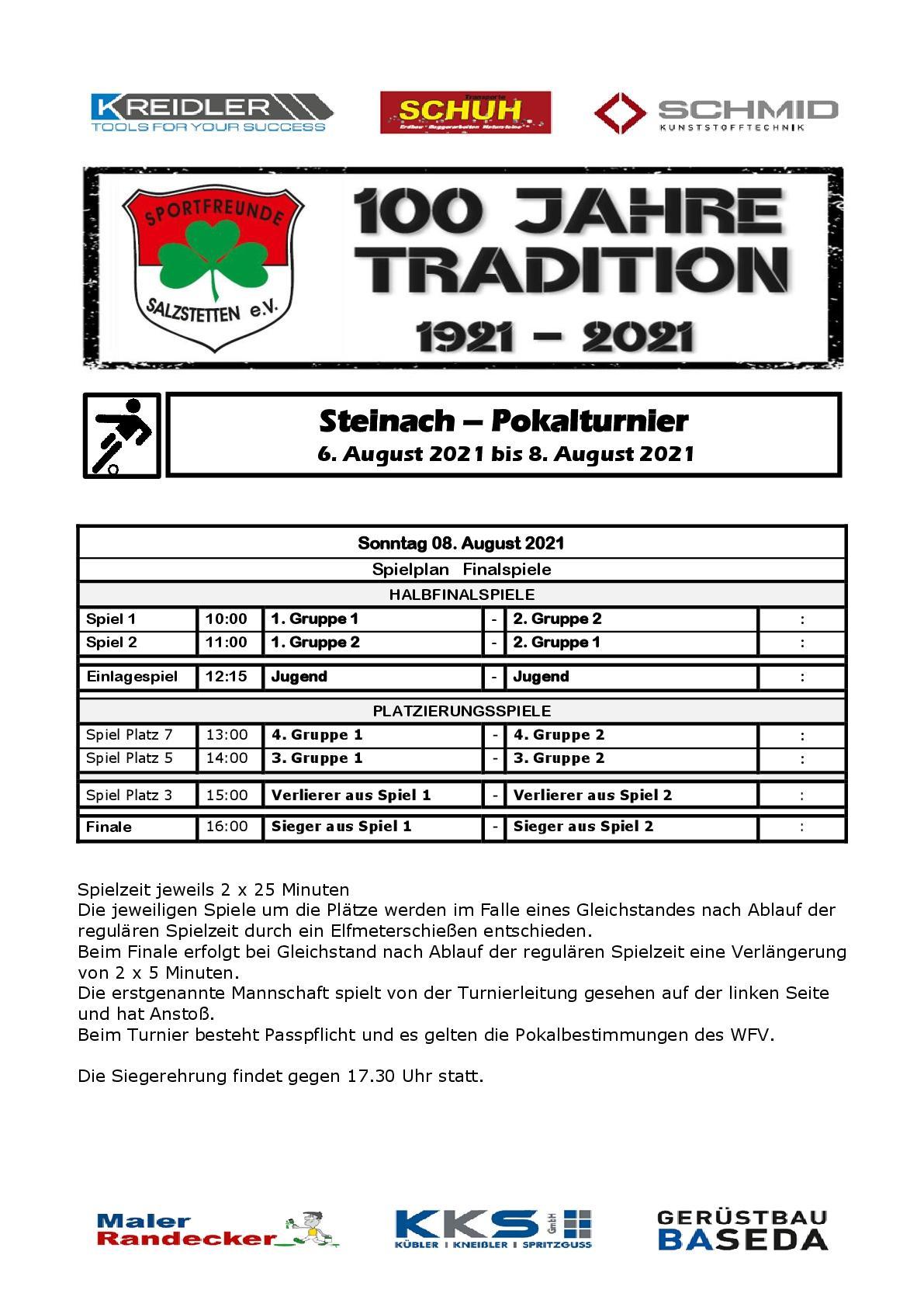 Steinachpokal Turnierplan - Sonntag
